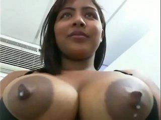 Latin pregnant slut drinking her breast milk