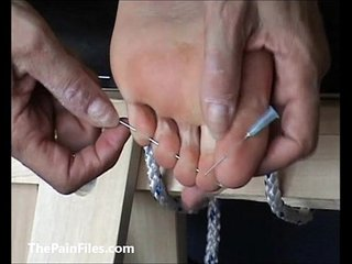 Extreme foot fetish and feet needle bdsm of mature amateur slave girl in harsh m