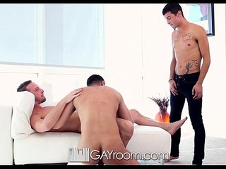 HD - GayRoom Cute guy joins his roommates for a threesome