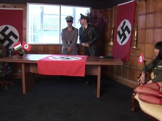 Blonde and brunette hotties get roughly fucked by two German nazis